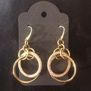 Michael Kors Gold Colored Sparkly Drop Earrings